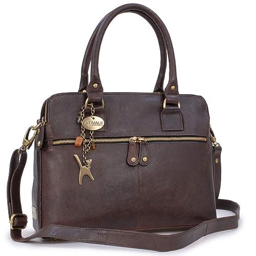 d23051832dc CATWALK COLLECTION - VICTORIA - Bolso de hombro estilo shopper - Cuero  vintage - Marrón: Amazon.es: Zapatos y complementos