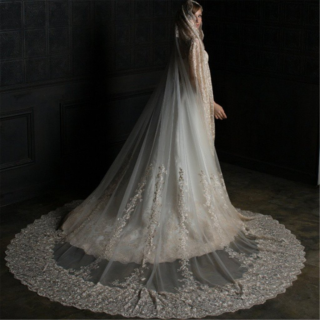 Kelaixiang 1T 1 Tire Lace Beading Wedding Veils for Bride
