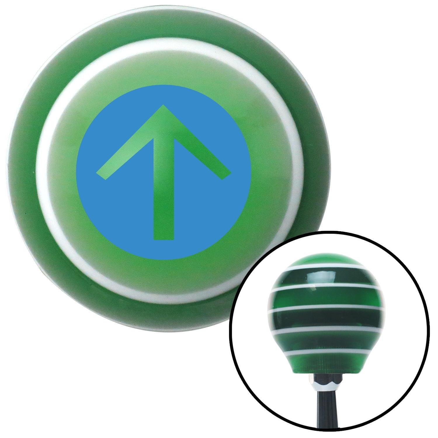 Blue Circle Directional Arrow Up American Shifter 121265 Green Stripe Shift Knob with M16 x 1.5 Insert