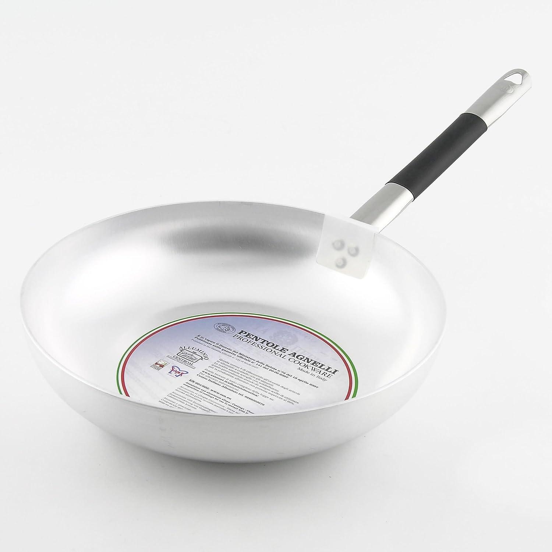 """Argento 20 cm Pentole Agnelli ALMC111BC20 Padella Svasata Alta Saltare in Alluminio Spessore 3 mm con Manico in Acciaio Inossidabile /""""Cool/"""""""