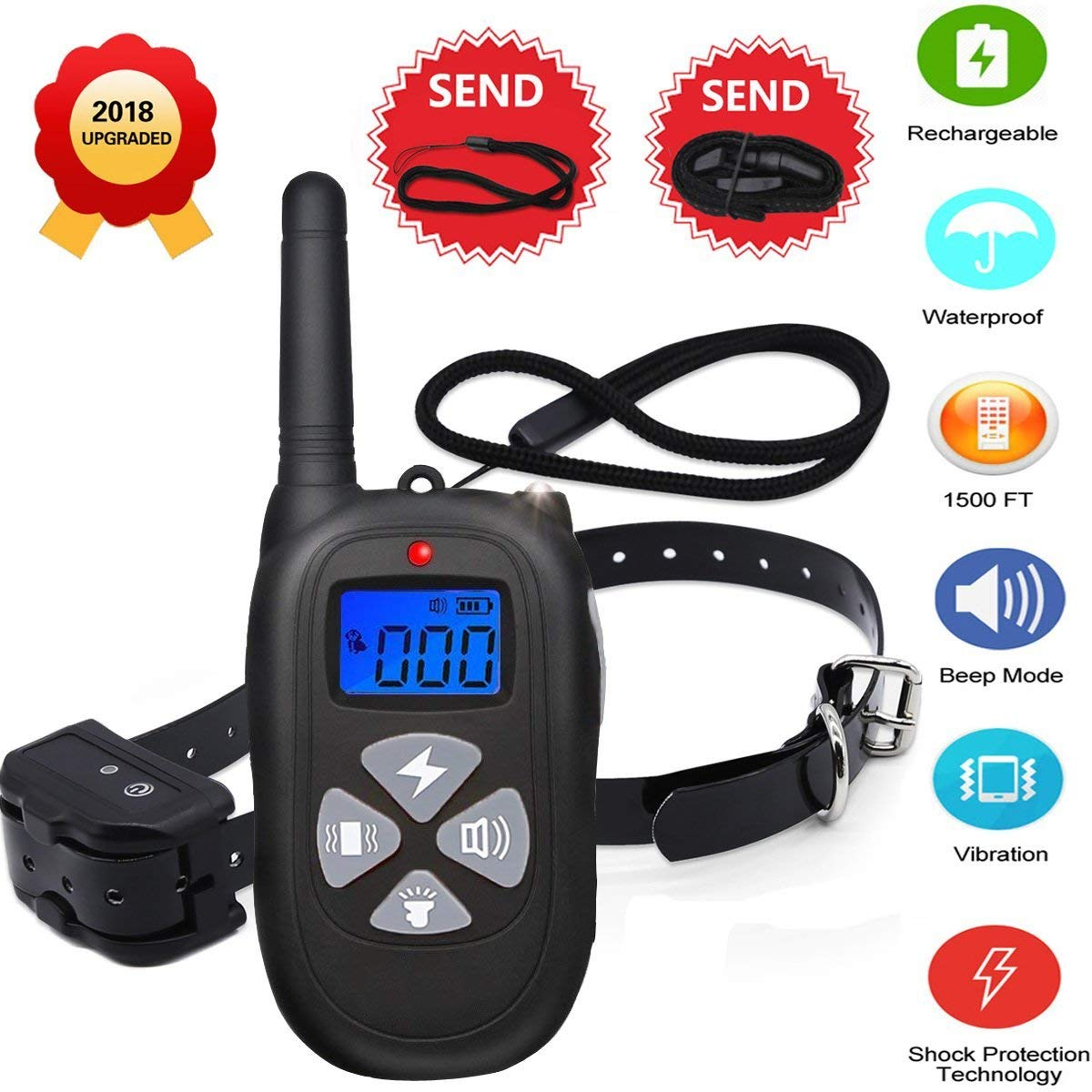 NEW2019 Remote Dog Training Collar 1450ft Waterproof and Rechargeable Electric Shock Collar with Beep 100 Level Vibration 100 Level Shock Shock Protection Technology Fits All Size Puppies