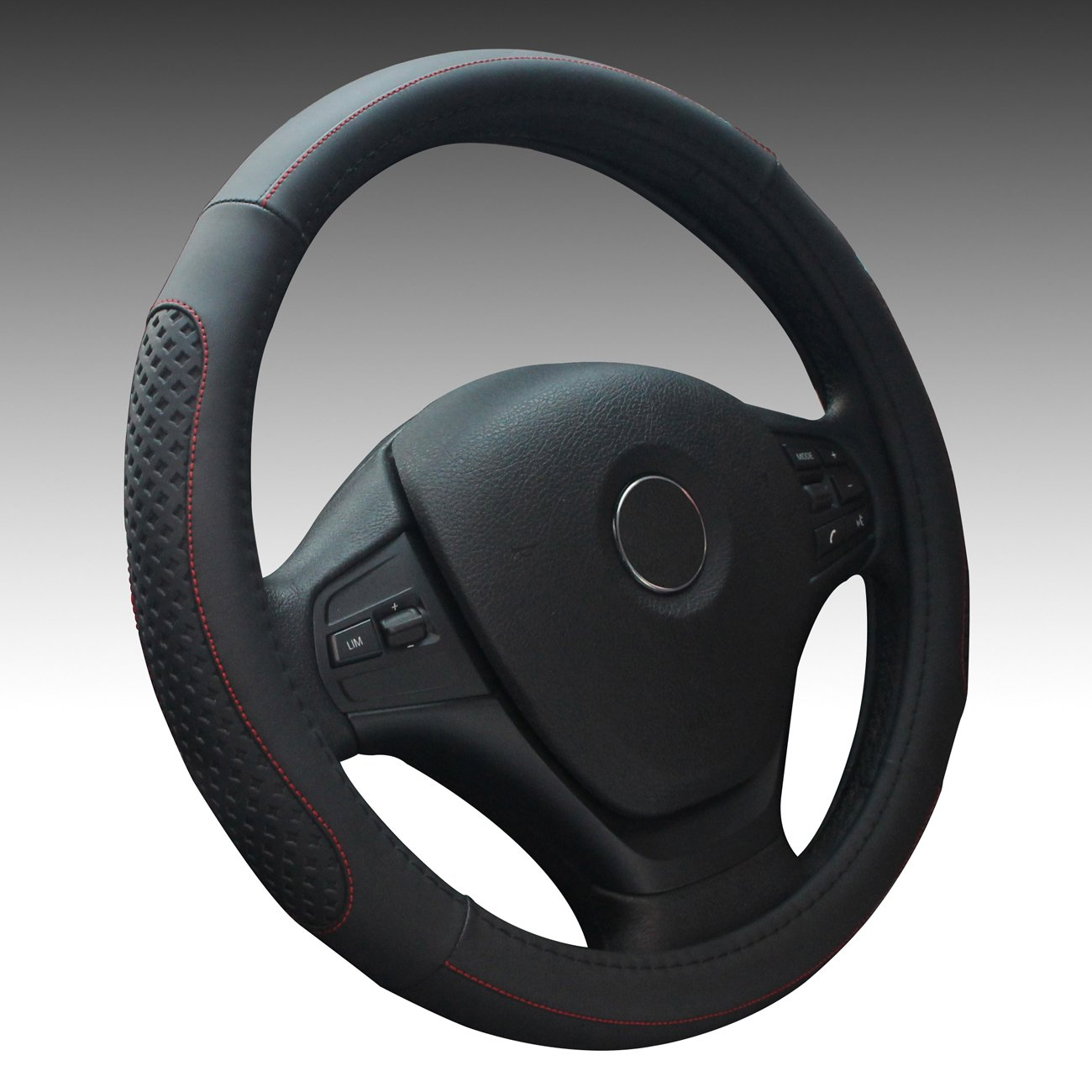 Fstarts Leather Steering Wheel Cover for Auto Car/Truck/Van/SUV (black)