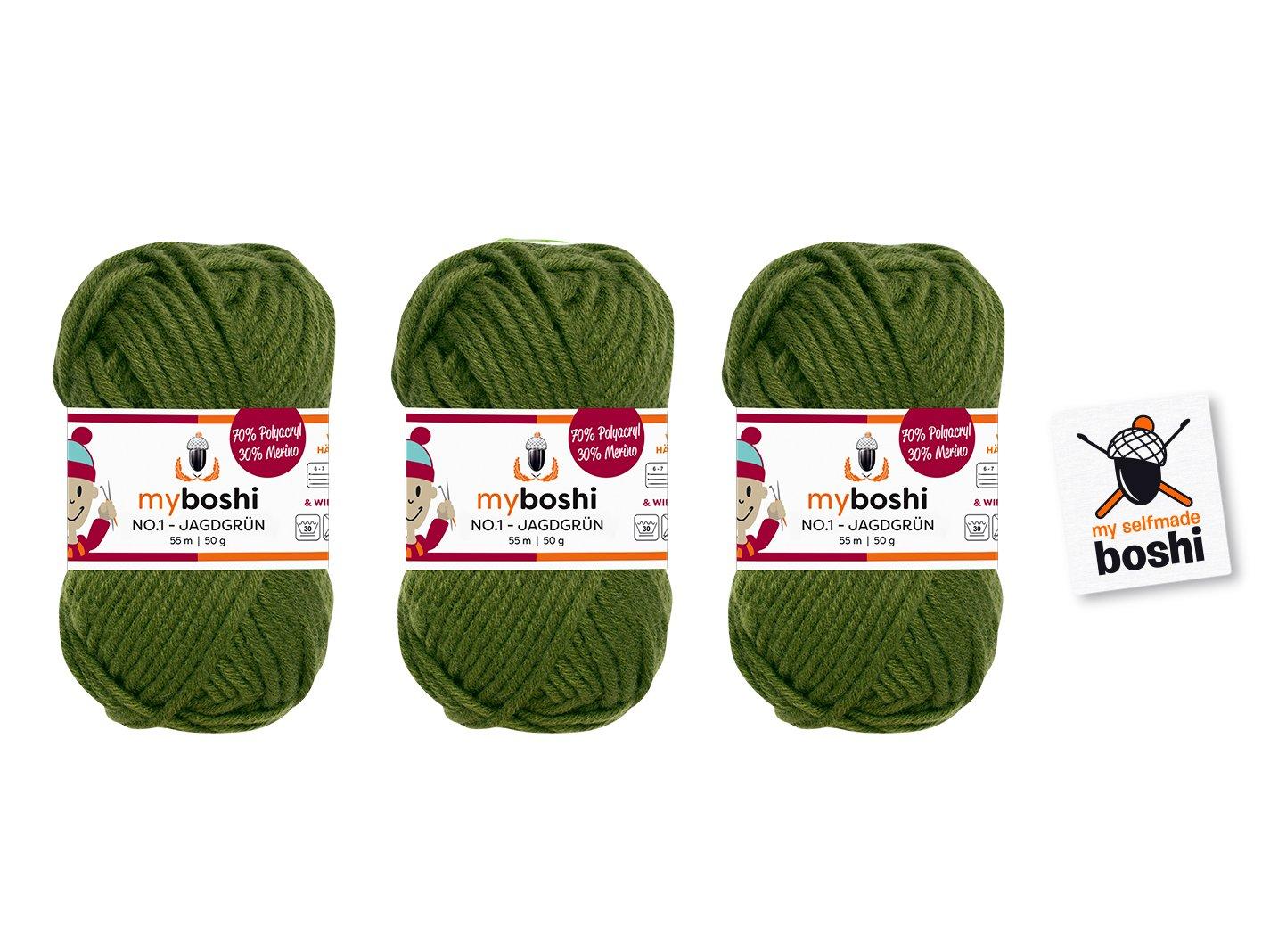 3 Knäuel Wolle zum Häkeln und Stricken: myboshi No.1 50gr (70% Polyacryl, 30% Merino)