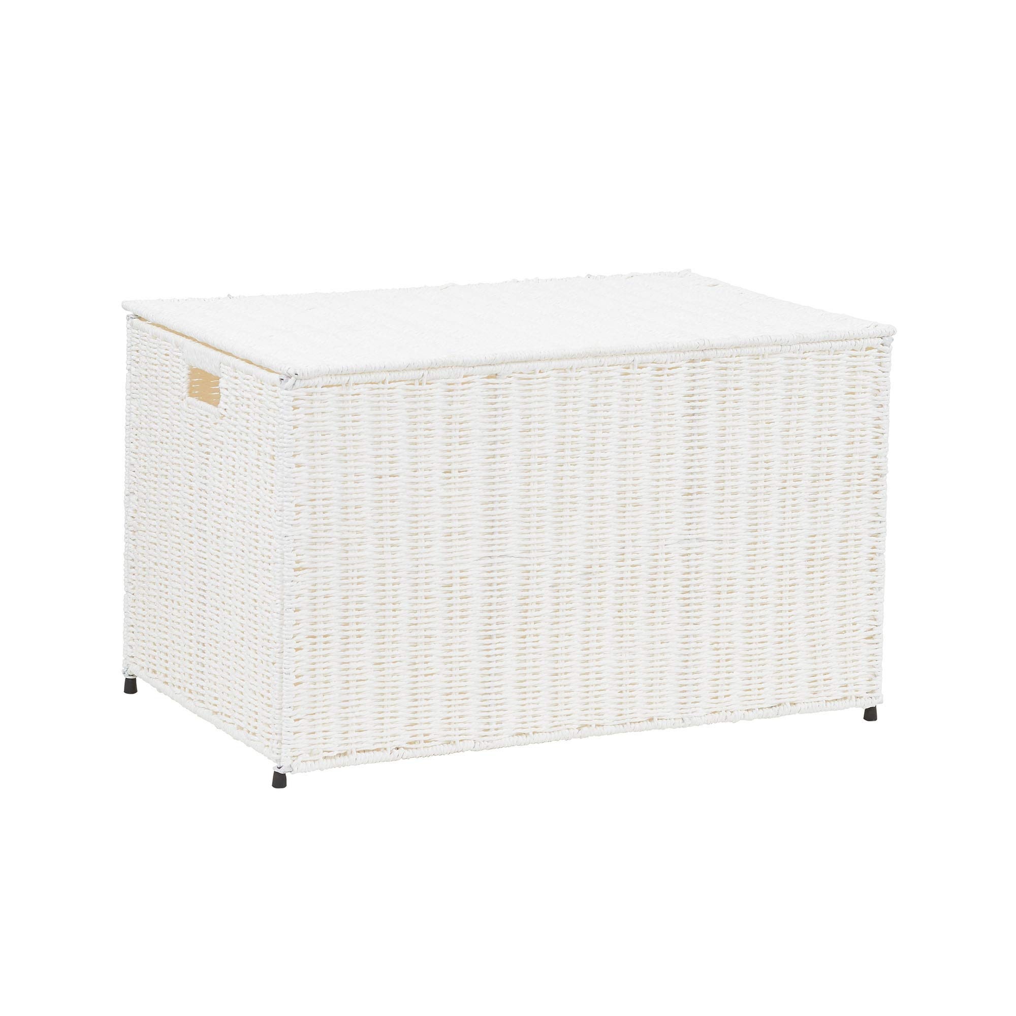 Household Essentials ML-7165 Decorative Wicker Chest with Lid for Storage and Organization | Large | White