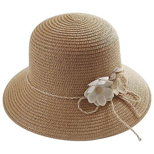 cc8dd8a69 ChenXi Store Women Big Flower Straw Hat Floppy Foldable Roll up UV ...