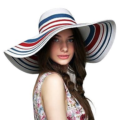 d33082fcc LETHMIK Floppy Hat Wide Brim Hats Straw Beach Sun Hat Rainbow Womens ...