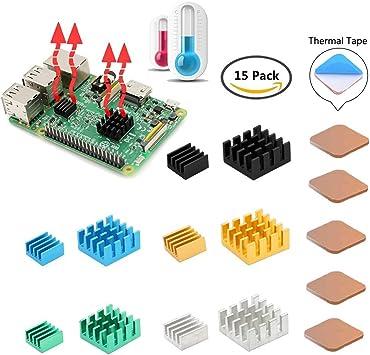 GeeekPi 15PCS Raspberry Pi Disipador, Raspberry Pi Cobre y ...