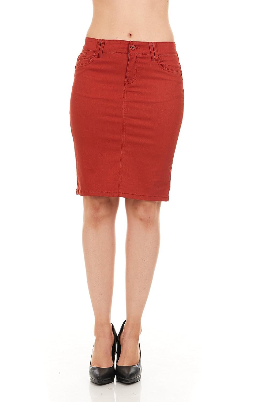 FGR Girls Stertchy Cotton 5 Pocket Color Denim Skirt