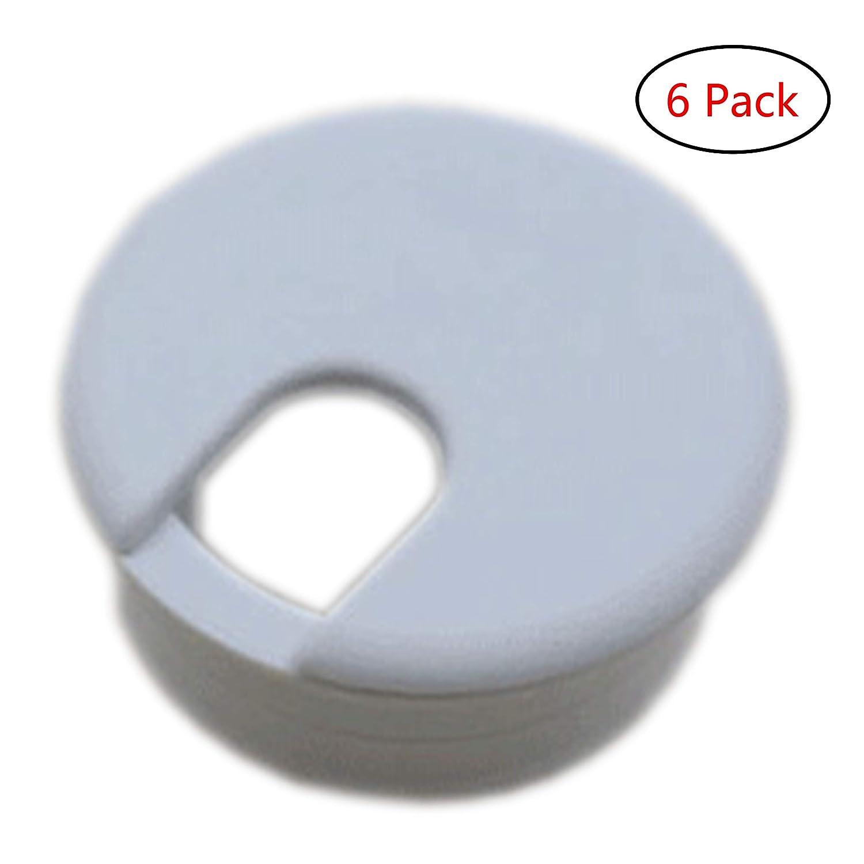 Xntun 6 Pack 1-3/8 Inch Desk Grommet, Plastic Desk Cord Cable Hole Cover Grommet - White