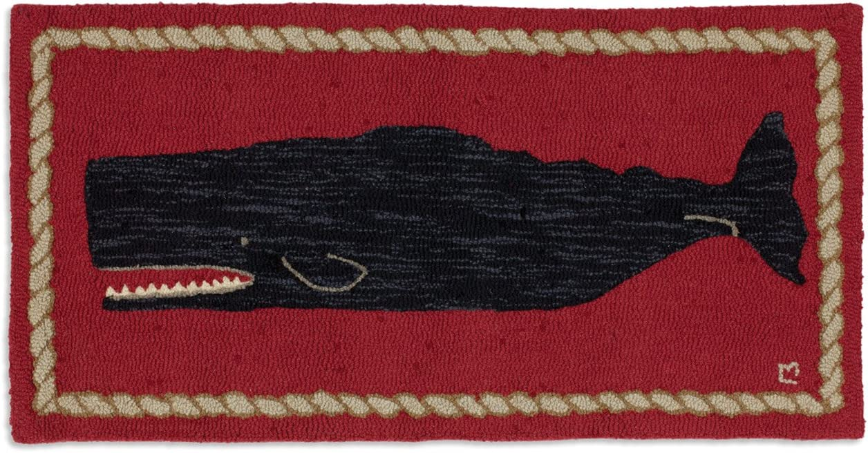 Chandler 4 Corners Artist-Designed Black Whale Hand-Hooked Wool Accent Rug 2 x 4