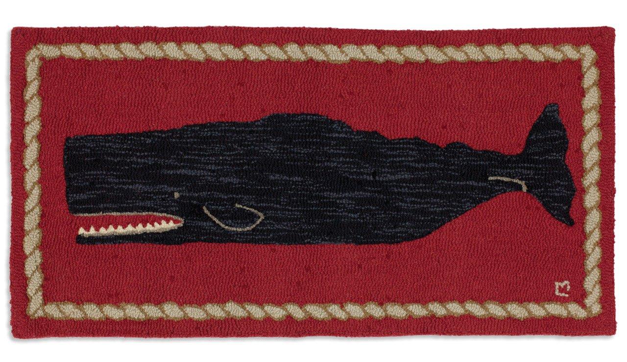 Chandler 4 Corners Beautiful Handmade Decorative Rug Hand Hooked Black Whale On Red Rug 2 x4 – 100 Wool
