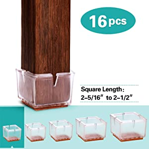 MelonBoat Chair Leg Floor Protectors with Felt Furniture Pads, Chair Glides Feet Caps, A-SQ061, 16 Pack, Fit Square 2-5/16 inches to 2-1/2 inches (5.8-6.4cm)