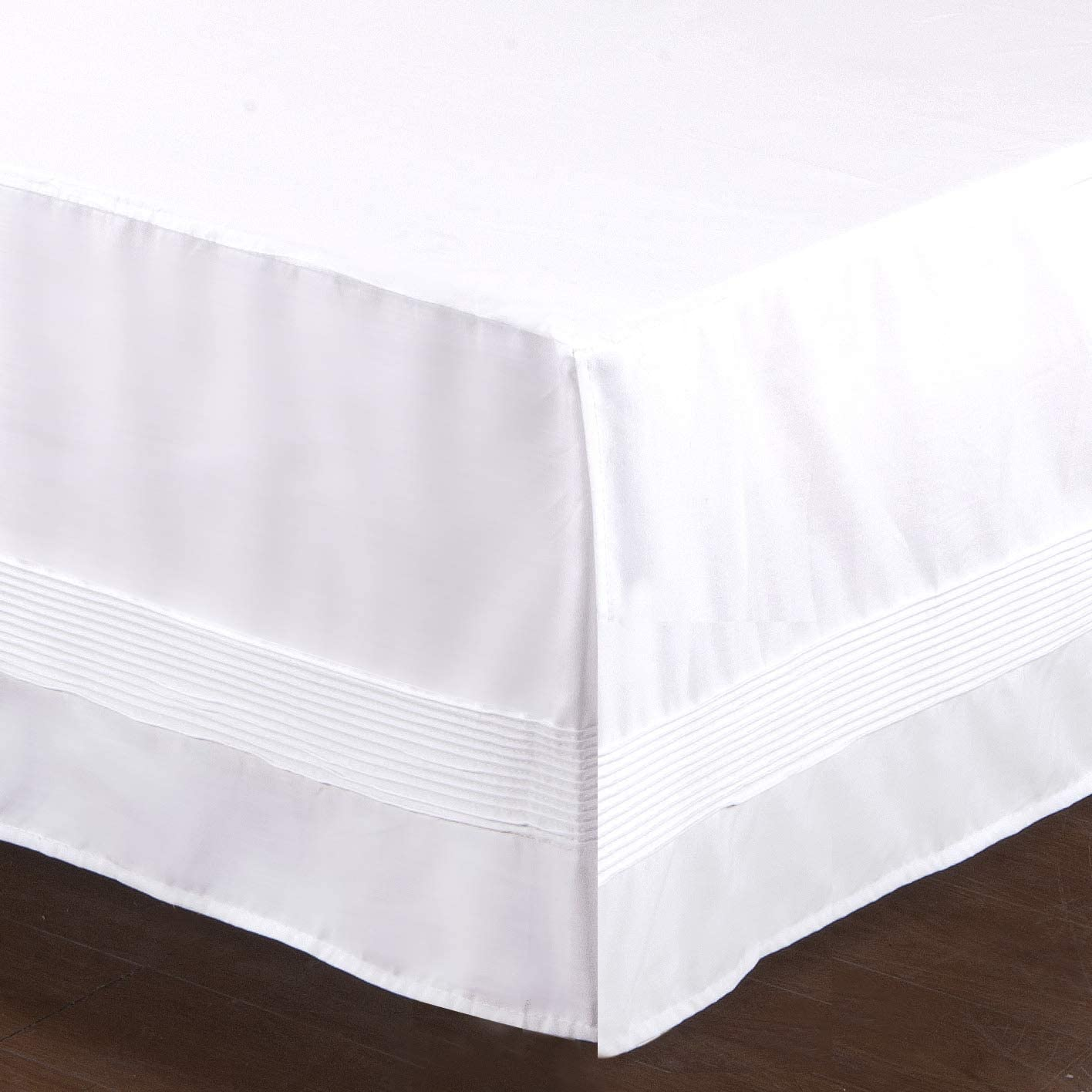 Valea Home Bed Skirt with Stitch on White Dust Ruffle with Split Corner, Durable Elegant Luxury Queen 14-inch Drop