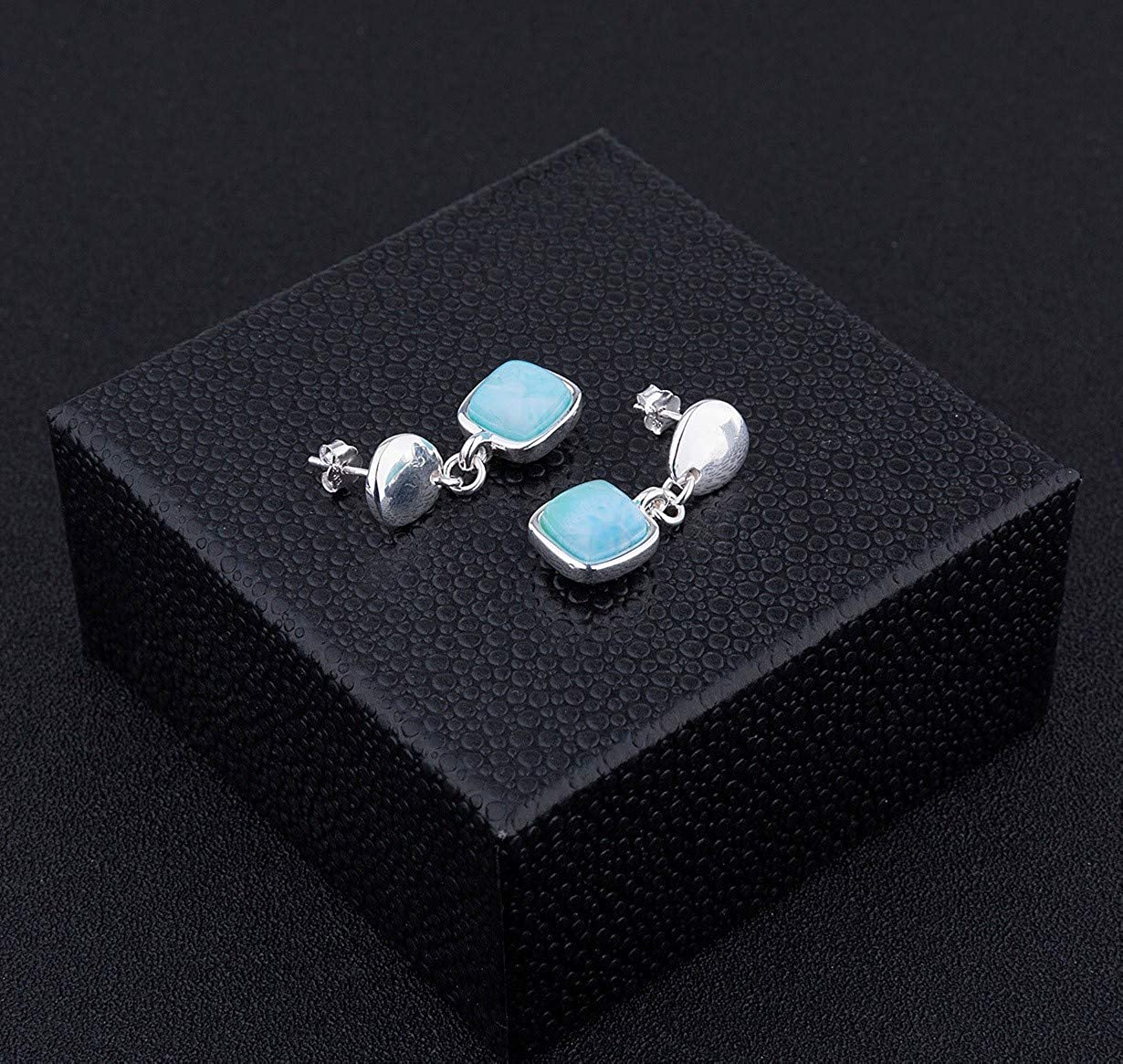 925 Sterling Silver Larimar Drop Earrings with Square Shape Natural Genuine Handmade Gemstone Fashion Blue Larimar Gemstone for Women and Girl