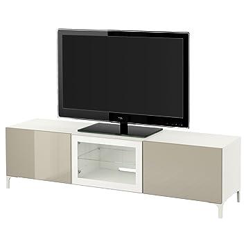 Ikea Besta Tv Banc Avec Tiroirs Et Porte Blanc Selsviken Brillant