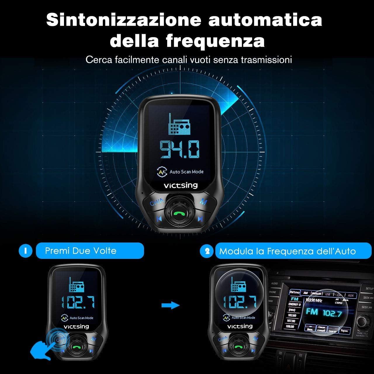 Victsing Bluetooth Fm Transmitter Mit Automatischer Abschaltung Von Frequenz 1 8 Zoll Farbdisplay Radio 3 Usb Port Mit Schnellladefunktion Qc3 0 5 Eq Modus Unterstützt U Disk Tf Karte Aux Navigation