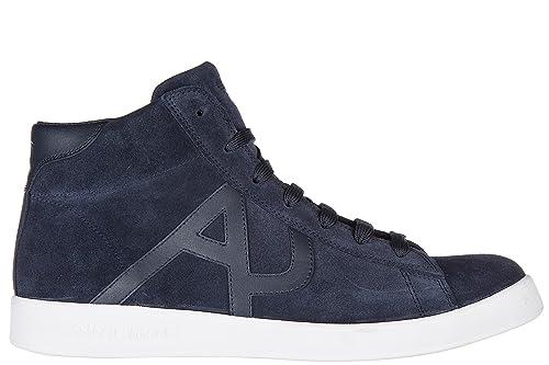 Armani Jeans Scarpe Sneakers Alte Uomo in camoscio Nuove Blu  Amazon.it   Scarpe e borse a9870561349