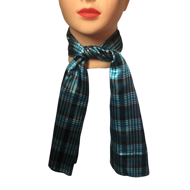 Small Wild Rag Neck Tie Light Blue Plaid Print