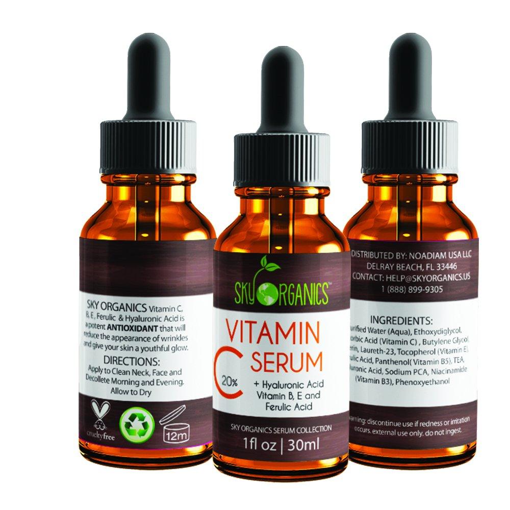 Amazon.com: Sky Organics Vitamin C Serum for Face with Hyaluronic Acid, Vitamin C 20%+B+E- Pro Strength Antioxidant Facial Skin Care Helps Repair Sun Damage ...