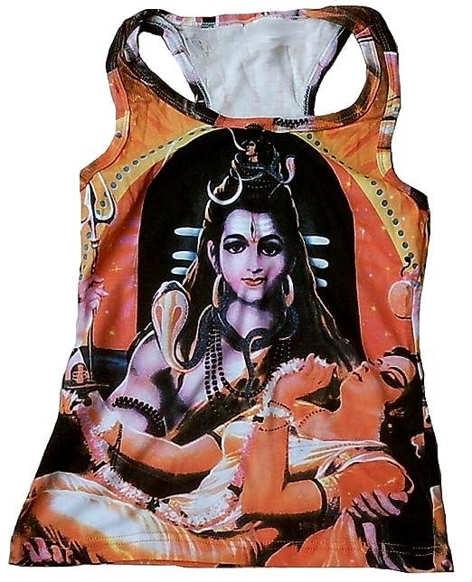 TICILA Mujer Tank Top Camiseta Naranja Hindú Dioses God Lord Shiva Parvati Psychodelic Goa Trance DJ