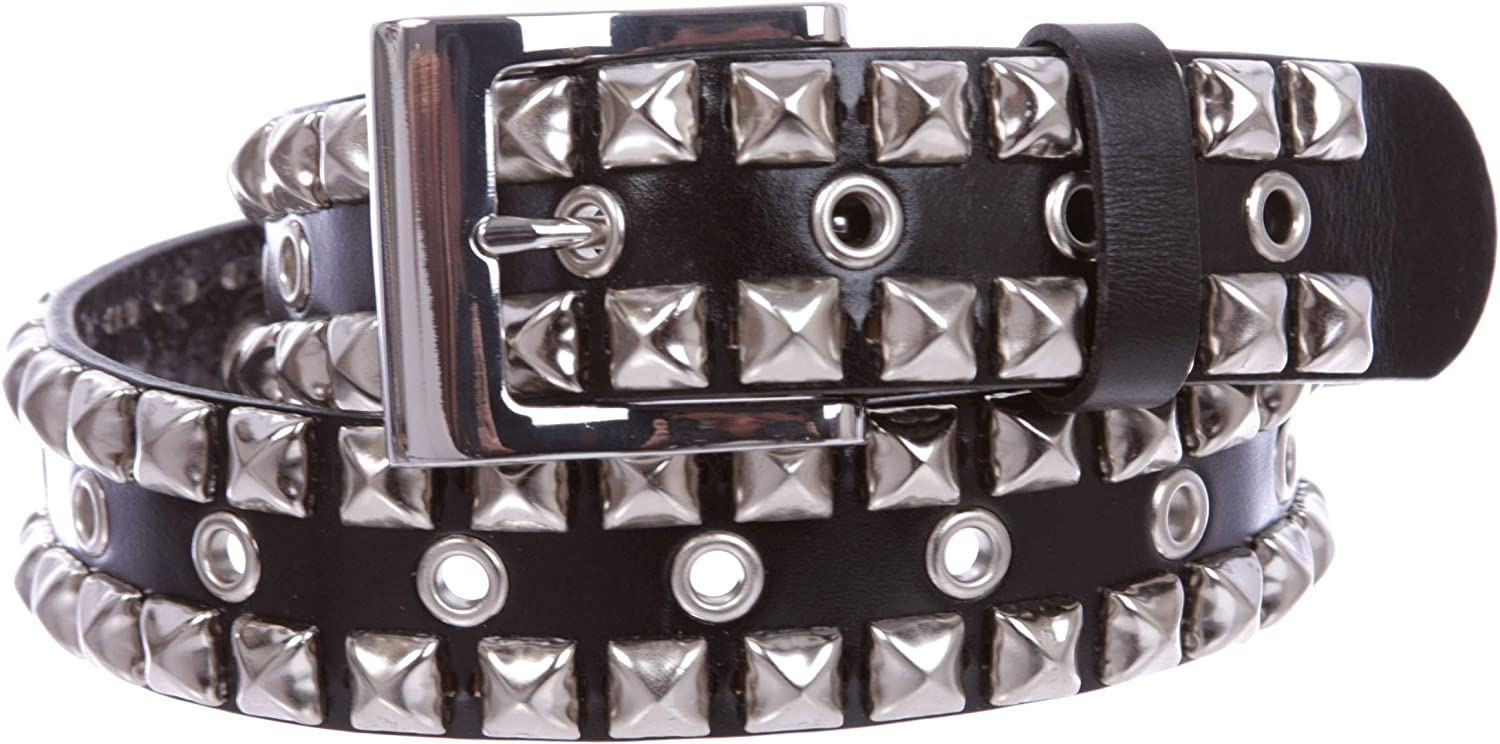 GOTH PUNK SILVER STUD STUDDED WHITE SNAP ON BELT XXL 42 NEW