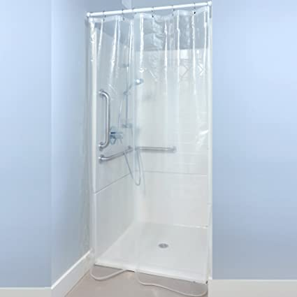SlipX Solutions Mildew Resistant Clear Heavy Duty Shower Stall Curtain Liner With Microban Antimicrobial Protection