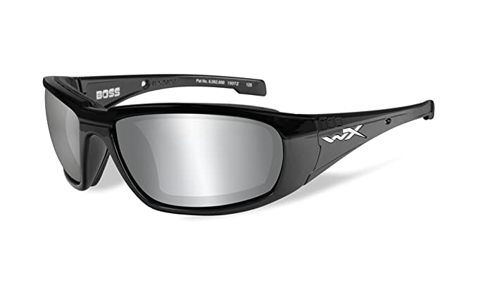 Wiley X Mens Boss Silver Flash Smoke Grey Gloss Sunglasses - Ccbos01