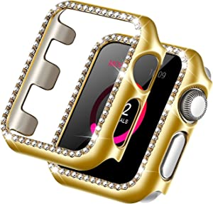 Forbear Compatible with Apple Watch Case 38mm, iWatch Cover with Bling Crystal Diamonds Shiny Rhinestone Bumper, Electroplated PC Protective Frame for Apple Watch Series 3/2/1 (Gold, 38mm)