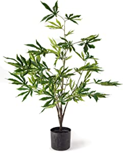 Southside Plants Artificial Marijuana Plant with Realistic Cannabis Indica Leaves in Black Decor Pot - Beautiful Fake Weed Prop Perfect Decoration for CBD or Smoke Shop
