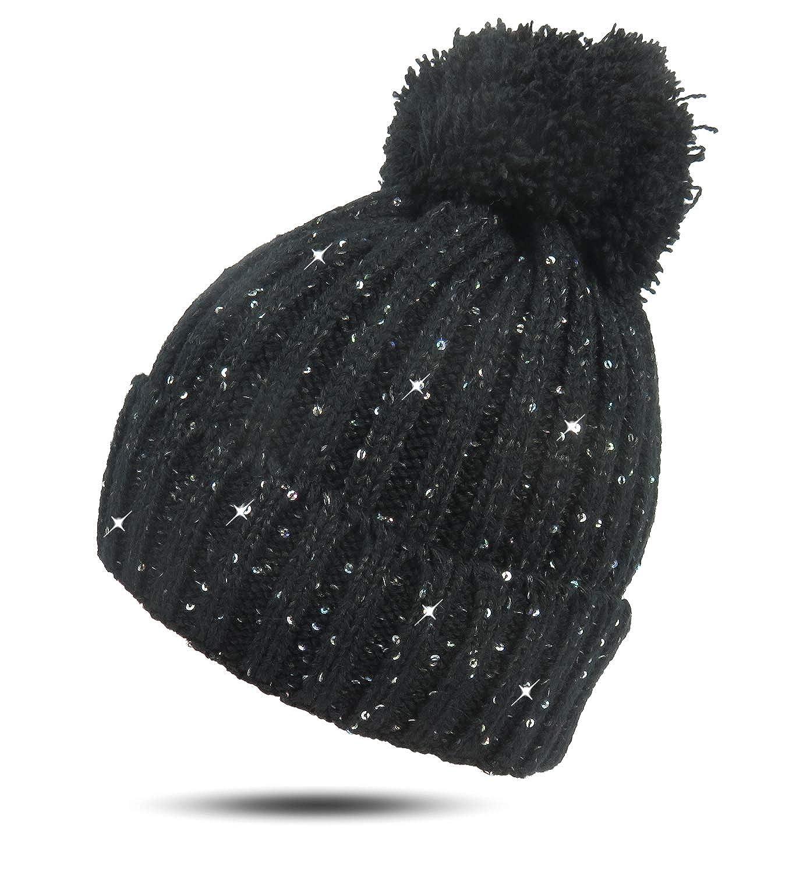 Damen Stern-Slouch Winter Strick-Mütze Glitzer Sterne Beanie Teddy Fleece Futter