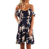 Aking Sommerkleider Damen Cold Shoulder Freizeitkleid Kurzes Strandkleid Partykleid Midikleid mit Blumenmuster