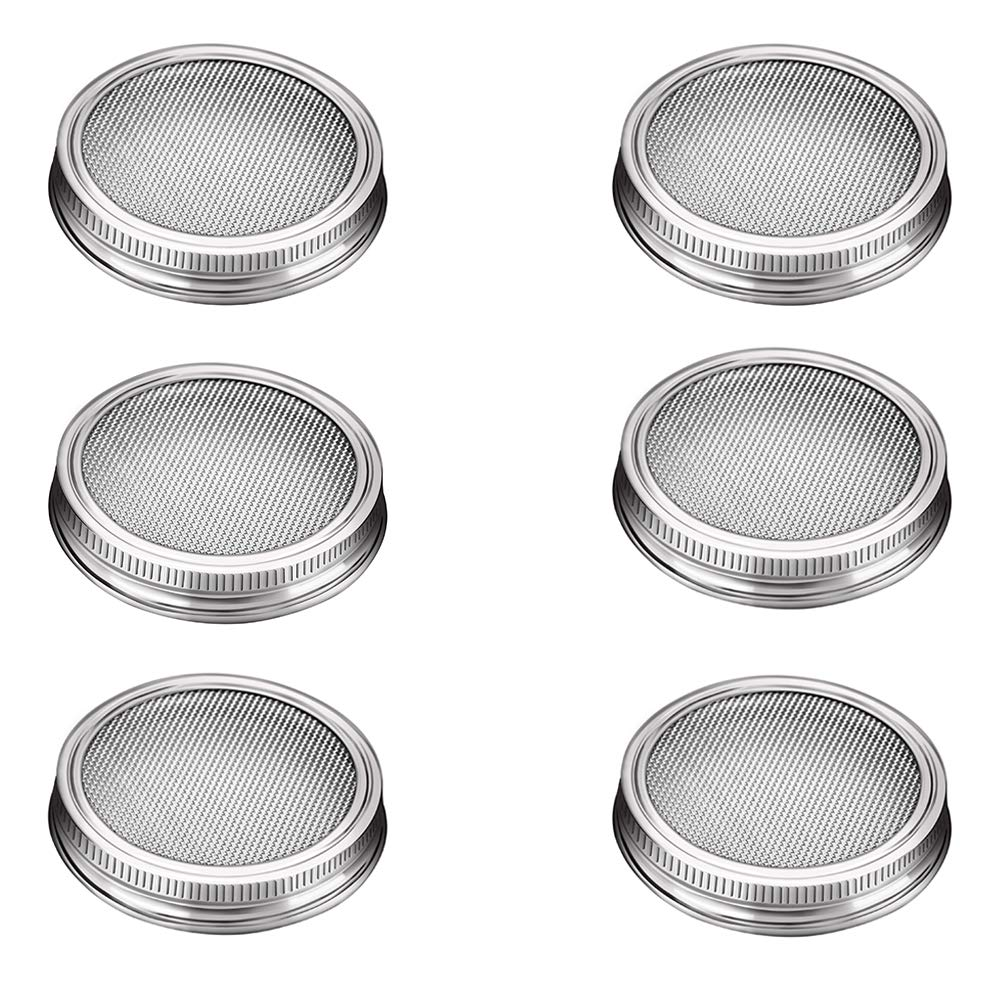 G.a HOMEFAVOR Set of 6 Stainless Steel Sprouting Jar Lids Fit for Wide Mouth Mason Jars for Making Organic Sprout Seeds Indoor Ful Choices