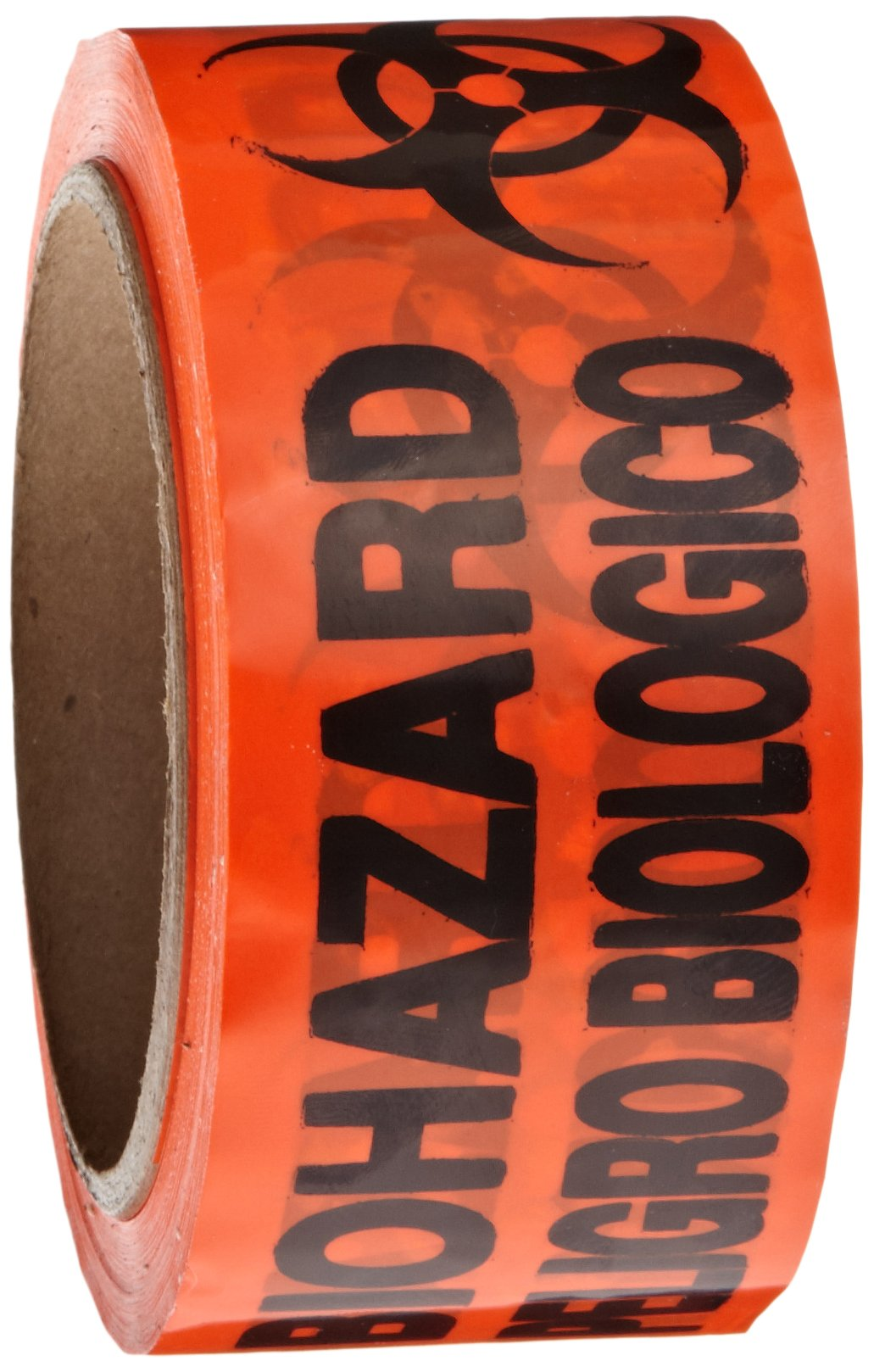 Roll Products 142-0006 PVC Film Biohazard Warning Tape with Black Imprint, Legend ''Biohazard - Peligro Biologico'' (with Logo), 55 yd. Length x 2'' Width, 3'' Diameter Core Roll, for Identifying and Marking, Fluorescent Red/Orange by Roll Products