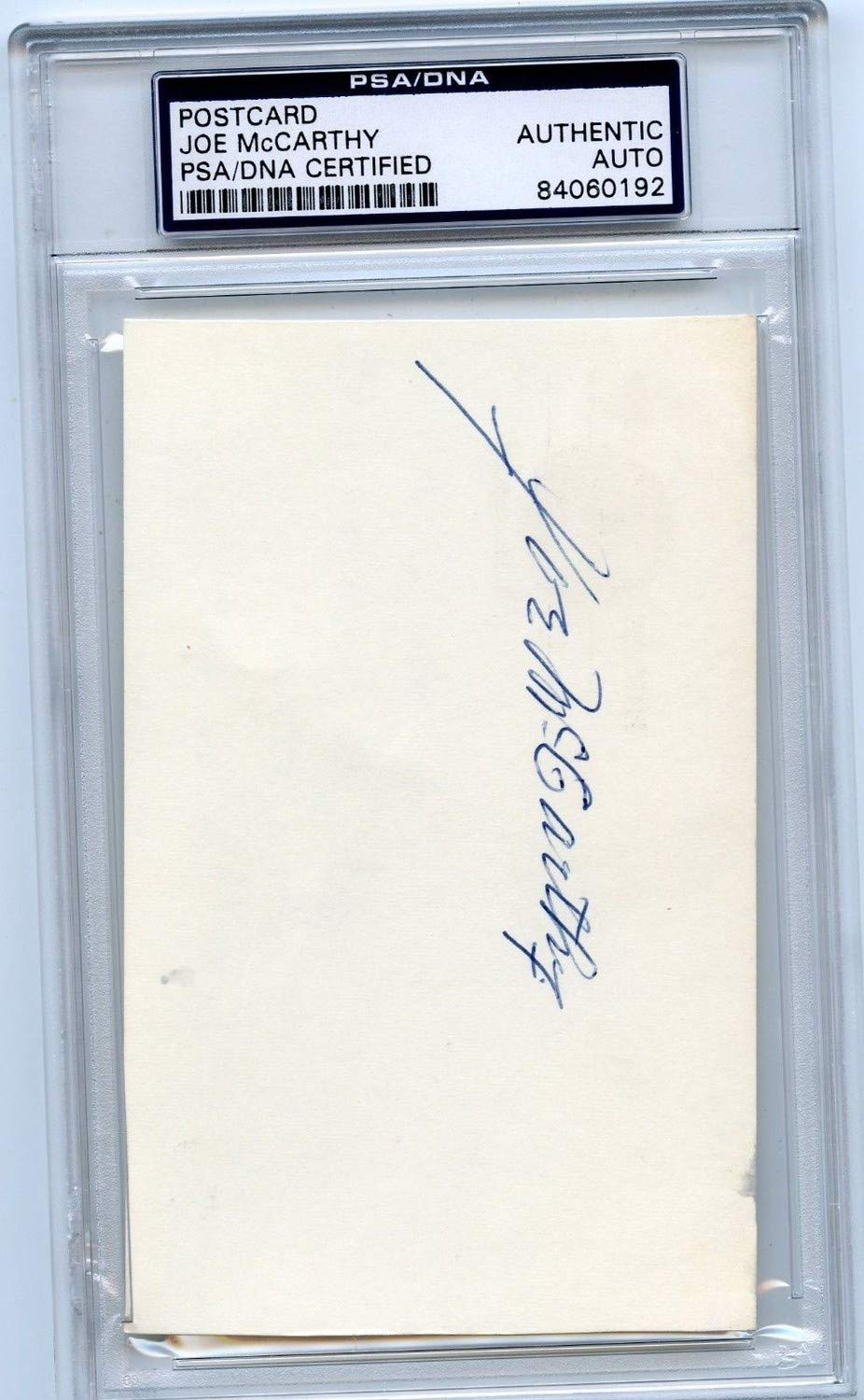 Joe Mccarthy Autographed Signed Postcard N.Y. Yankees HOF PSA/DNA Authentic 013118