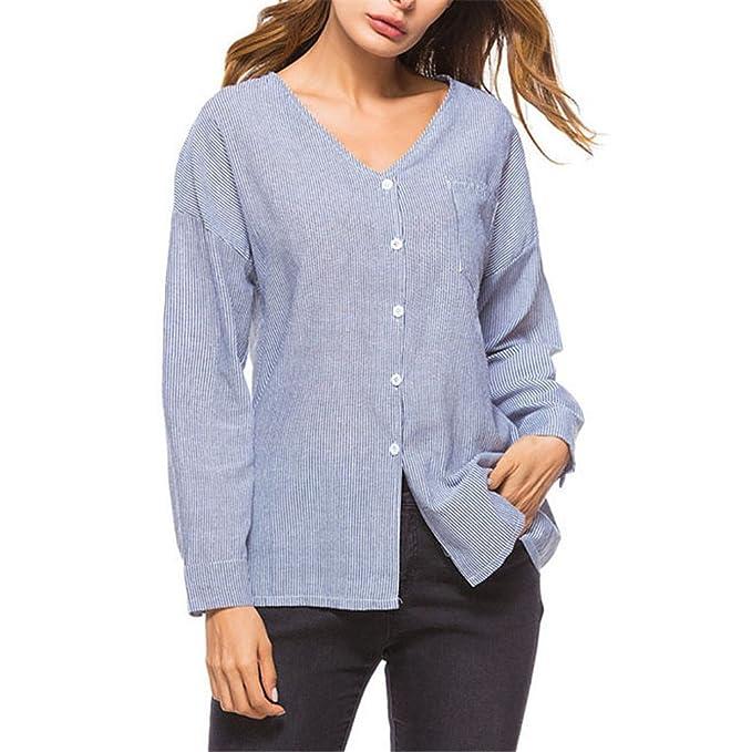 Camisas de Mujer de Primavera Moda Blusas Camisa de Mujer Caída de Hombro Casual Top Blusa de Otoño de Manga Larga Cuello Gris a Rayas: Amazon.es: Ropa y ...