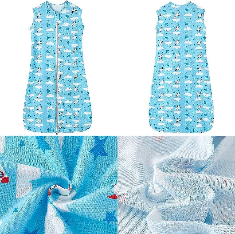 0,5 tog 90 cm ni/ña color azul Dise/ño de estrellas azules y nube blanca 6-18 meses primavera pijama fino dise/ño de cohete y nube blanca Saco de dormir de verano para beb/é