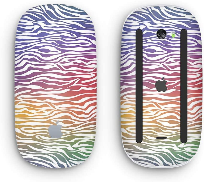 Colorful Vector Zebra Animal Print with Multi-Touch Surface Wireless, Rechargable Design Skinz Premium Vinyl Decal for The Apple Magic Mouse 2
