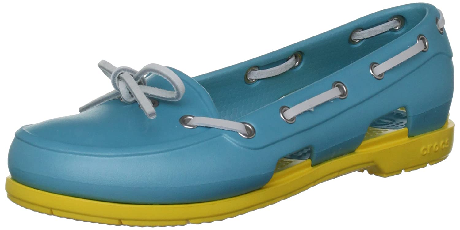 CrocsBeach Line - Mocassini donna Blu (Aqua/Yellow)
