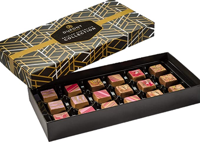 Belgian Chocolates Box - Traditional Assortment of Dark Chocolate, Truffles and Creamy pralines. Dupont chocolatier - Perfect Christmas Gift, Chocolates Hamper, Birthday Gift: Amazon.co.uk: Grocery