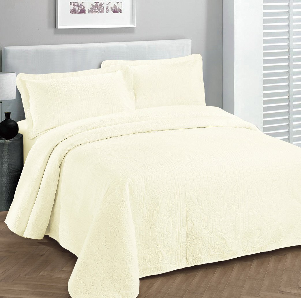 Fancy Collection 3pc Luxury Bedspread Coverlet Embossed Bed Cover Solid Off White New Over Size 118''x106'' King/california King