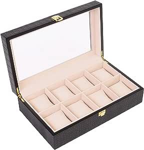TRESKO® Caja joyero Estuche para relojes Organizador para joyas con 8 compartimientos Negro: Amazon.es: Relojes