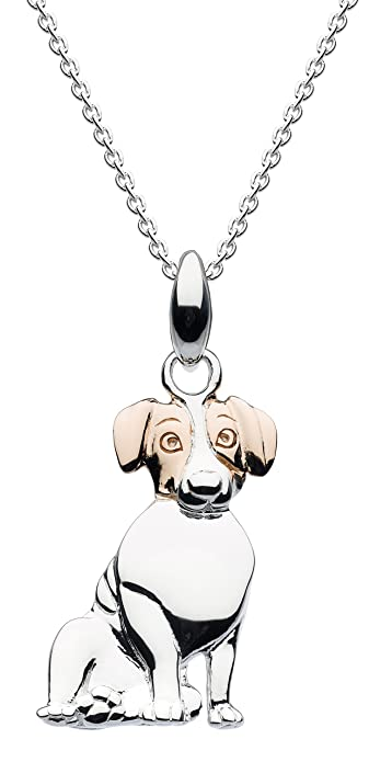 Dew Sterling Silver Sausage Dog Necklace of Length 45.7cm pJRWIgg9B