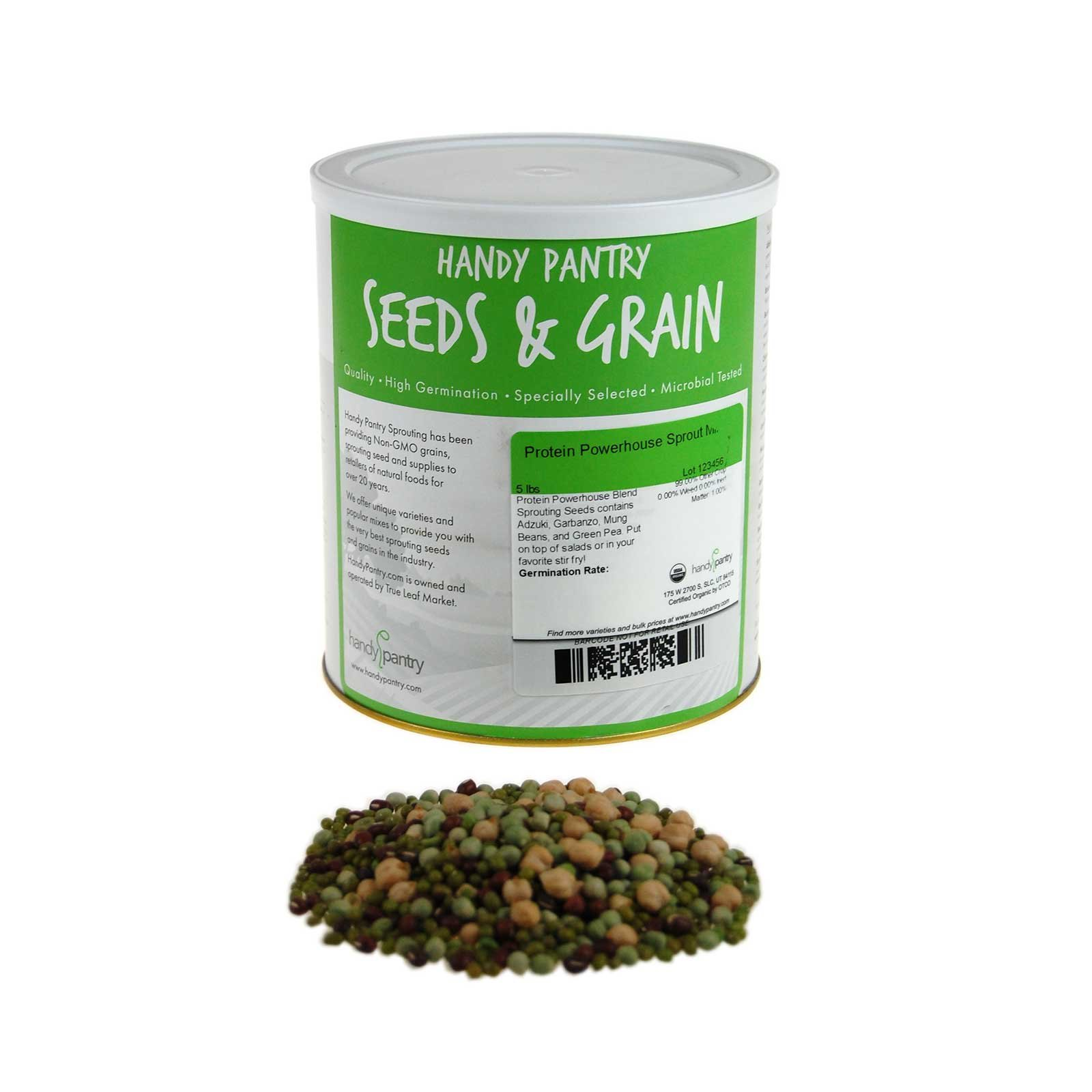 Handy Pantry Protein Powerhouse Sprouting Seed Mix: 5 Lb - Organic, Non-GMO - Sprouting Sprouts, Food Storage. High Protien Sprouts - Pea, Mung, Green Pea, Adzuki by Handy Pantry
