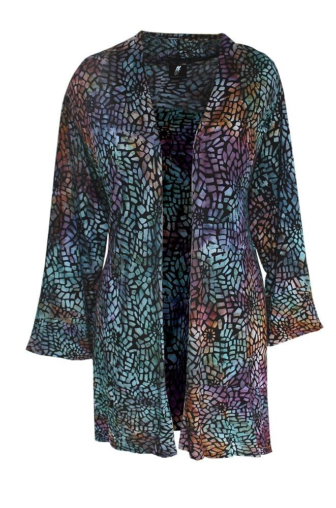 Women's PLUS SIZE Tunic Cardigan   Light Jersey Knit   Hanky Hem, O/S (1X-3X)