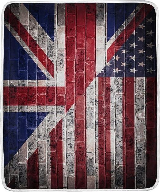 ALAZA decoración del hogar Retro americano bandera británica bandera Star suave y cálida manta para cama