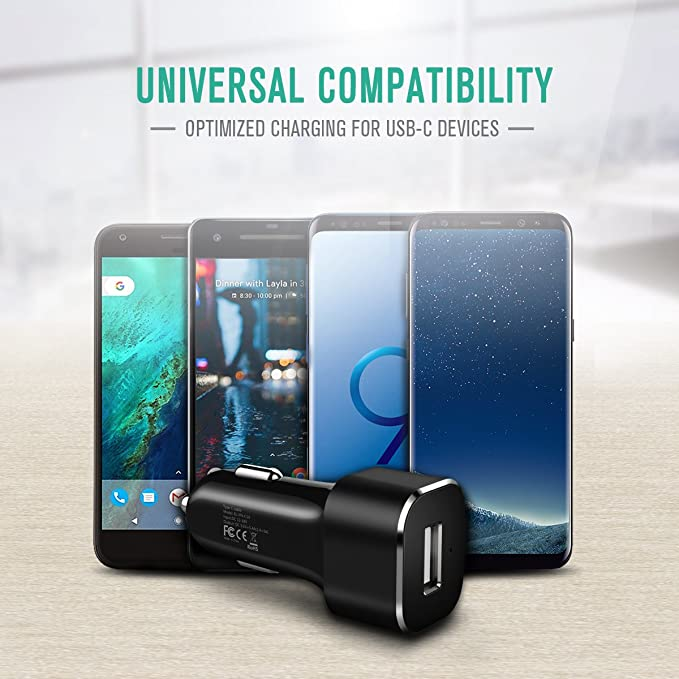 USB Type C Car Charger, Nekteck 27W USB C Car Charger Adapter with Integrated Built in Type C 3.1 Cable and USB A Port for Samsung Galaxy S9/S8/Note 9 ...