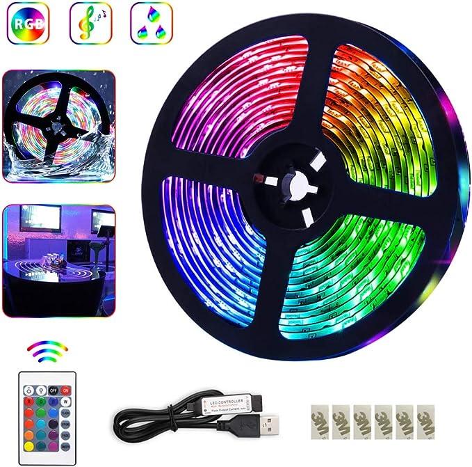 Womdee Tiras LED RGB 5M, Tiras de Luces LED 300 Leds SMD 3528 ...