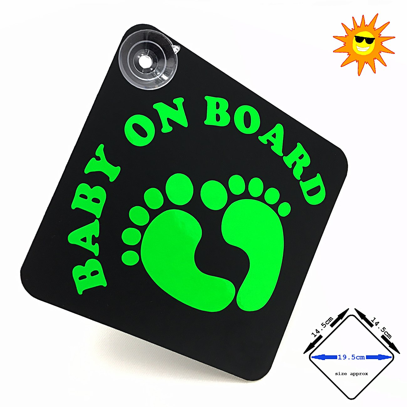 acepoprt BABY ON BOARD car sign with suction cups - cute baby feet (gloss Yellow/Black)