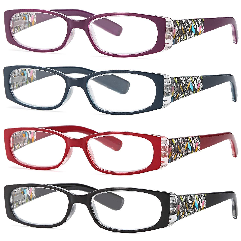 0fa1e17dd5 ALTEC VISION Pack of 4 Stylish Pattern Frame Readers Spring Hinge Reading  Glasses for Women -