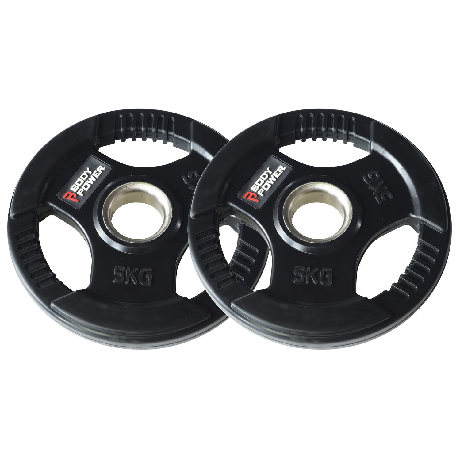 """Body Power Olympic 2/"""" Rubber Tri-Grip Weight Disc Plates 2 x 2.5kg 5kg Total"""